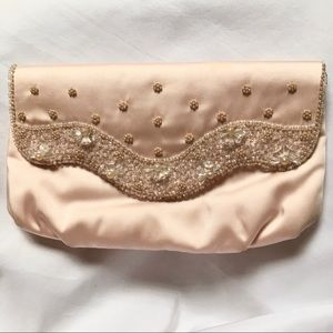 Vtg 1950s 50s Magid hand beaded pink clutch USA